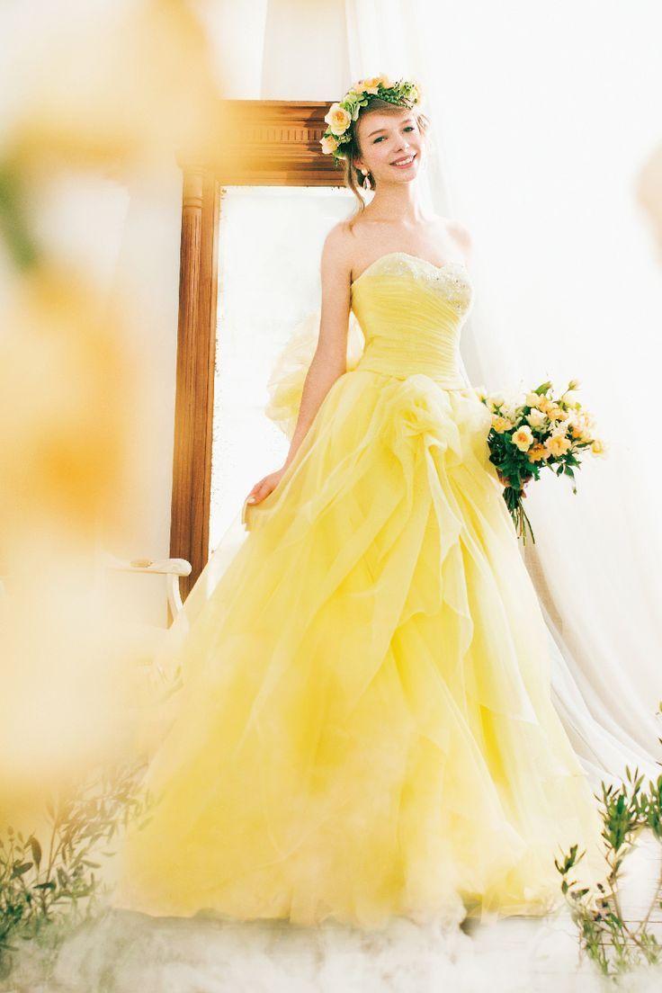 Robes de mariée en doré, jaune et moutarde