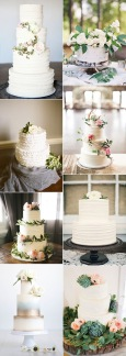 2017-trending-elegant-wedding-cakes-accented-with-green-floral