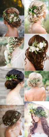 elegant-wedding-hairstyles-accented-with-green-floral-for-2017