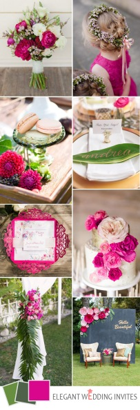 green-and-hot-pink-boho-wedding-color-ideas