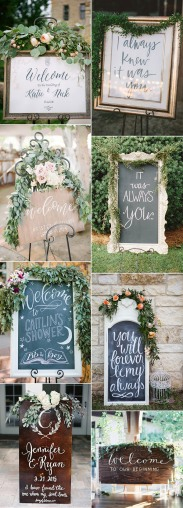 outdoor-wedding-sign-ideas-accented-with-green-floral