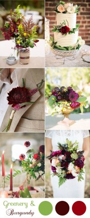 stunning-greenery-and-burgundy-wedding-colors-for-2017-trends