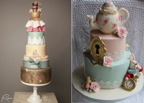 Alice in Wonderland cakes, Mad Hatter tea party cakes by Riviera Couture Cake Co left, Cake by Kim right