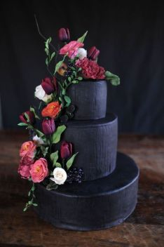 black-tiered-cake-with-flower-accents-e28093-featured-on-100-layer-cake