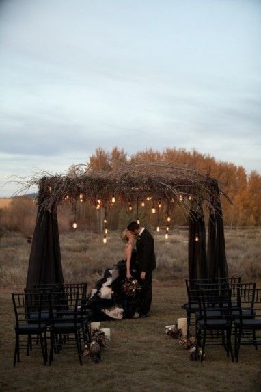 black-wedding-altar-with-rustic-branch-accents-and-suspended-light-bulbs-e28093-featured-on-trendy-bride
